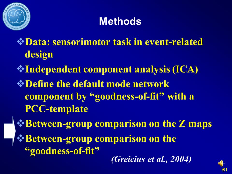 "61 Methods  Data: sensorimotor task in event-related design  Independent component analysis (ICA)  Define the default mode network component by ""go"