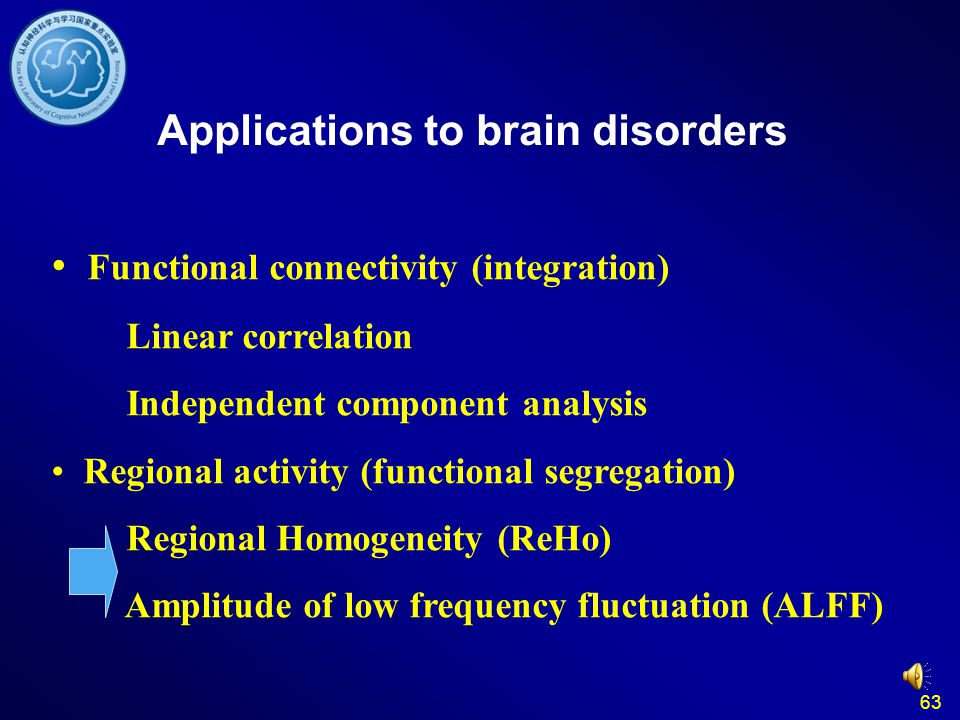 63 Applications to brain disorders Functional connectivity (integration) Linear correlation Independent component analysis Regional activity (function