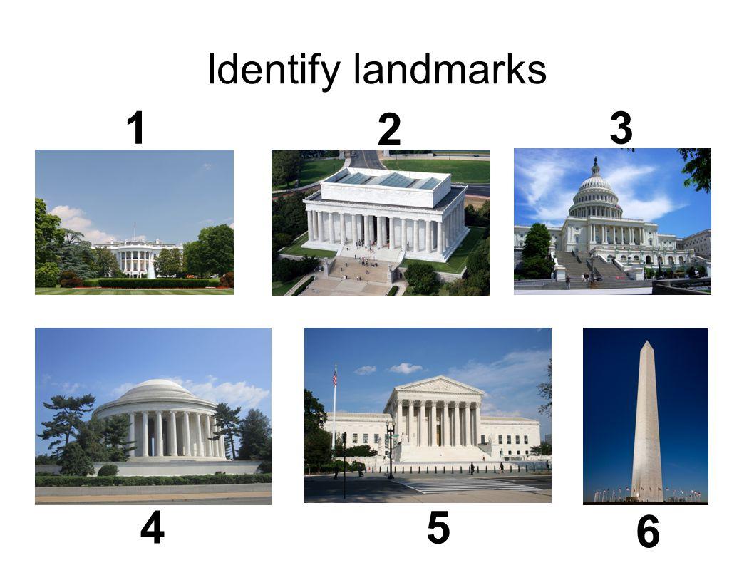 Identify landmarks 1 2 3 45 6