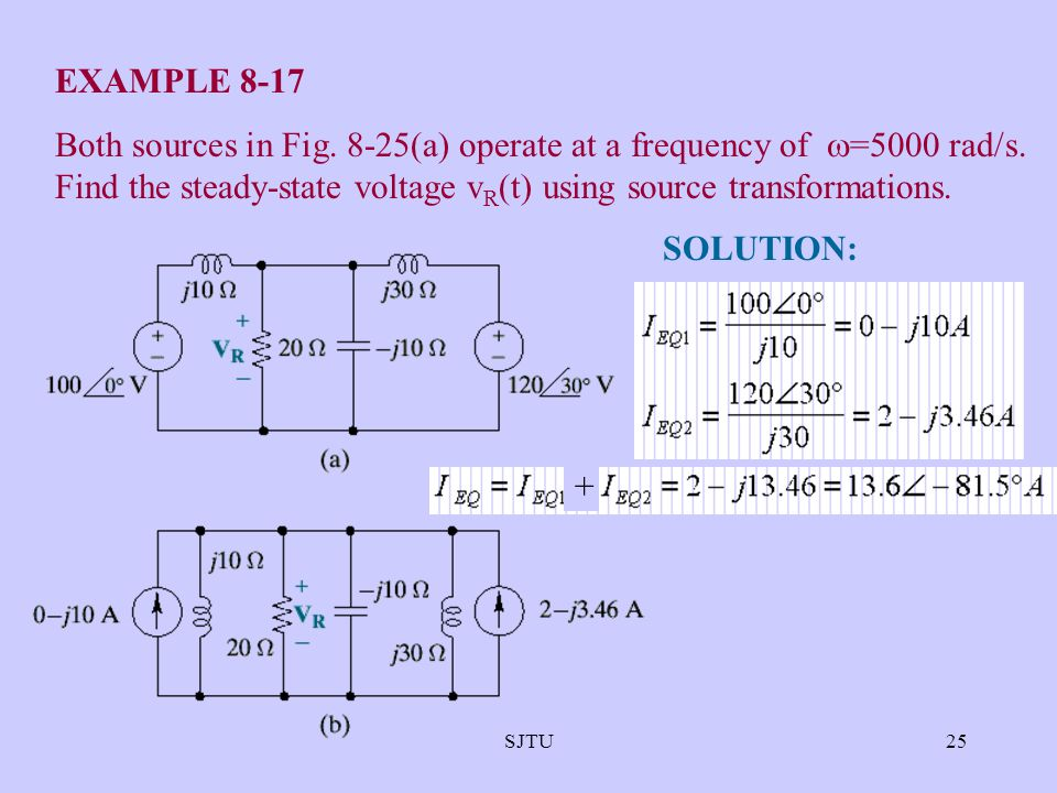 SJTU25 EXAMPLE 8-17 Both sources in Fig. 8-25(a) operate at a frequency of  =5000 rad/s. Find the steady-state voltage v R (t) using source transform