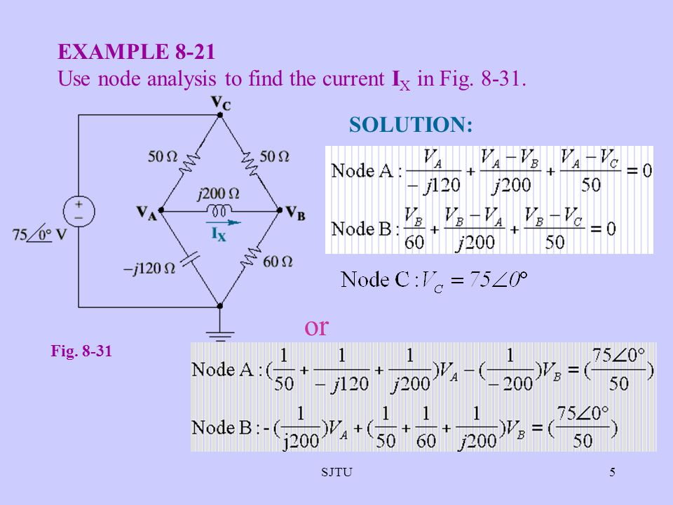 SJTU5 EXAMPLE 8-21 Use node analysis to find the current I X in Fig. 8-31. Fig. 8-31 SOLUTION: or