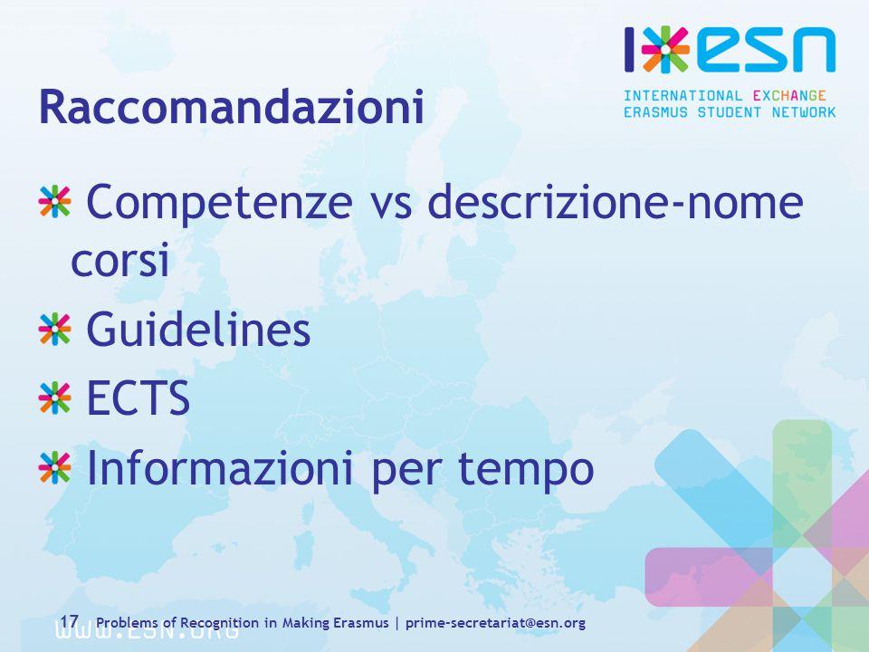 Raccomandazioni Competenze vs descrizione-nome corsi Guidelines ECTS Informazioni per tempo 17 Problems of Recognition in Making Erasmus | prime-secretariat@esn.org