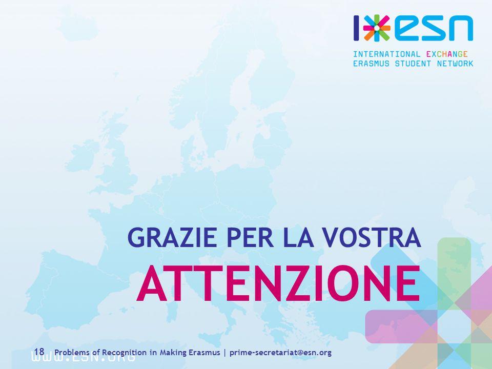 GRAZIE PER LA VOSTRA ATTENZIONE 18 Problems of Recognition in Making Erasmus | prime-secretariat@esn.org