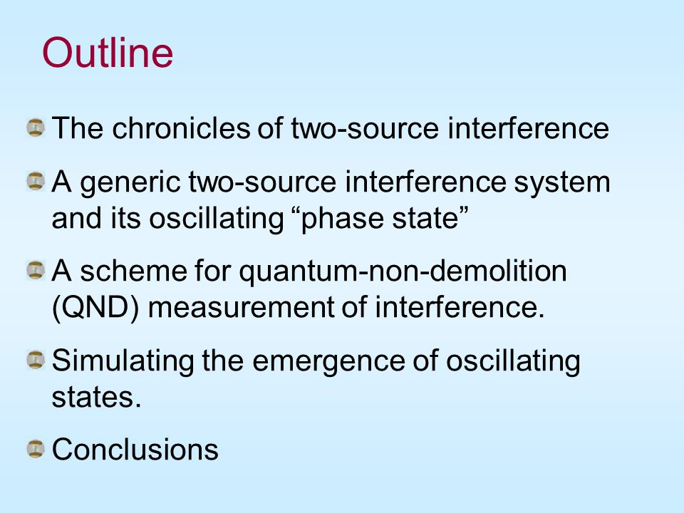 """Outline The chronicles of two-source interference A generic two-source interference system and its oscillating """"phase state"""" A scheme for quantum-non-"""