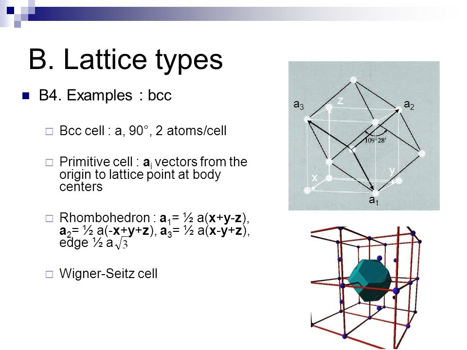B. Lattice types B4. Examples : bcc  Bcc cell : a, 90°, 2 atoms/cell  Primitive cell : a i vectors from the origin to lattice point at body centers