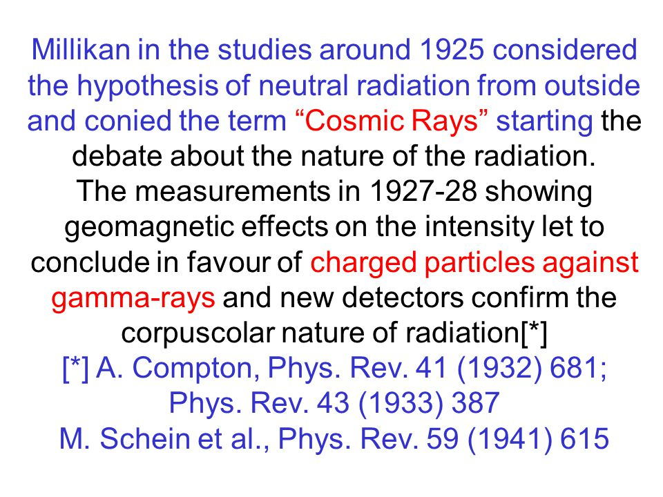 Millikan in the studies around 1925 considered the hypothesis of neutral radiation from outside and conied the term Cosmic Rays starting the debate about the nature of the radiation.