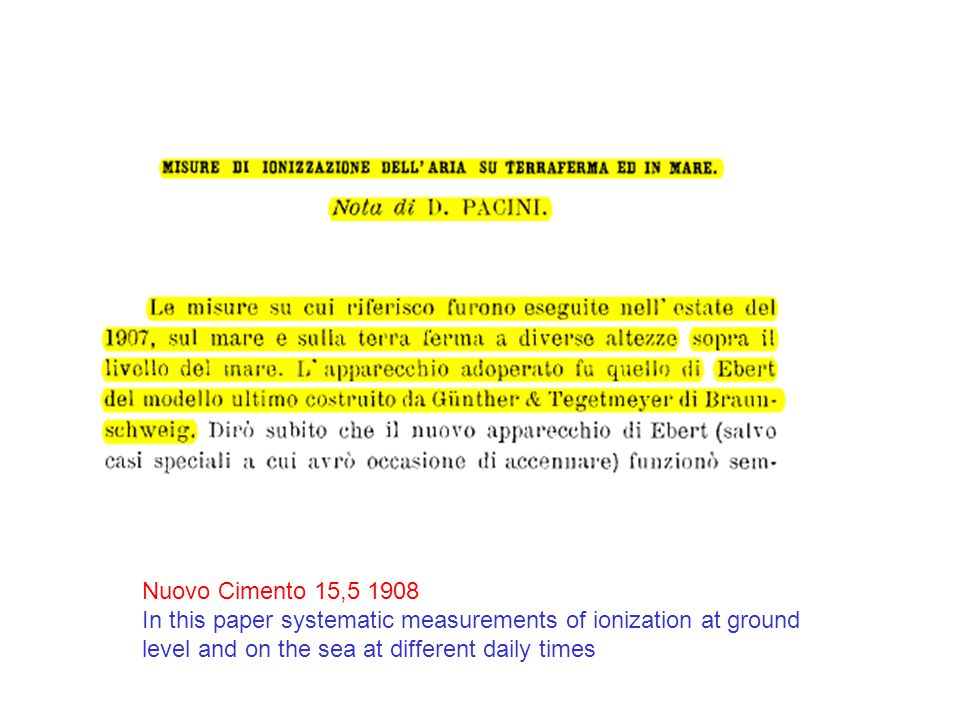 Nuovo Cimento 15,5 1908 In this paper systematic measurements of ionization at ground level and on the sea at different daily times