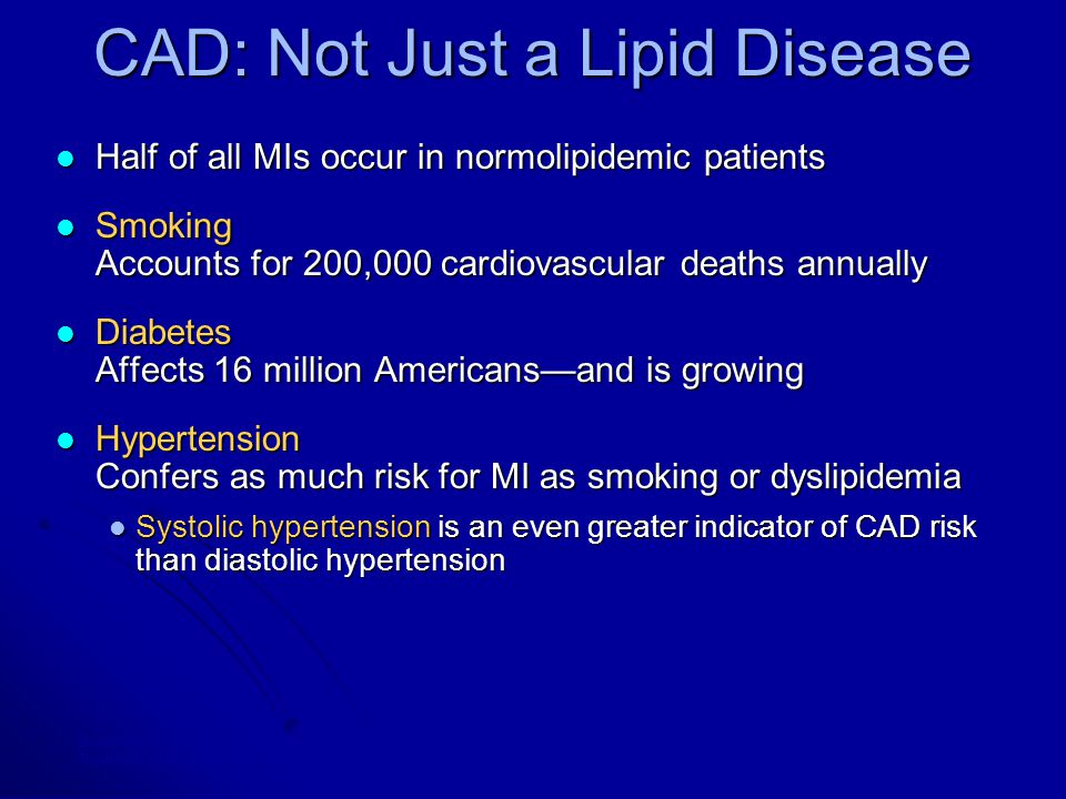 CAD: Not Just a Lipid Disease Half of all MIs occur in normolipidemic patients Half of all MIs occur in normolipidemic patients Smoking Accounts for 200,000 cardiovascular deaths annually Smoking Accounts for 200,000 cardiovascular deaths annually Diabetes Affects 16 million Americans—and is growing Diabetes Affects 16 million Americans—and is growing Hypertension Confers as much risk for MI as smoking or dyslipidemia Hypertension Confers as much risk for MI as smoking or dyslipidemia Systolic hypertension is an even greater indicator of CAD risk than diastolic hypertension Systolic hypertension is an even greater indicator of CAD risk than diastolic hypertension Braunwald E, N Engl J Med, 1997; Grundy SM et al, Circulation, 1998; The Joint National Committee on Prevention, Detection, Evaluation, and Treatment of High Blood Pressure and the National High Blood Pressure Education Program Coordinating Committee, Arch Intern Med, 1997.