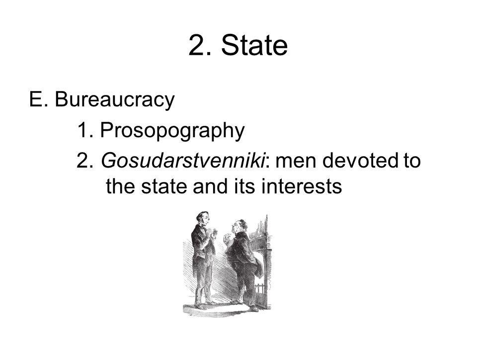 2. State E. Bureaucracy 1. Prosopography 2.