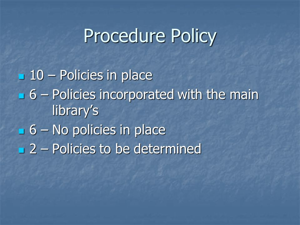 Procedure Policy 10 – Policies in place 10 – Policies in place 6 – Policies incorporated with the main library's 6 – Policies incorporated with the main library's 6 – No policies in place 6 – No policies in place 2 – Policies to be determined 2 – Policies to be determined