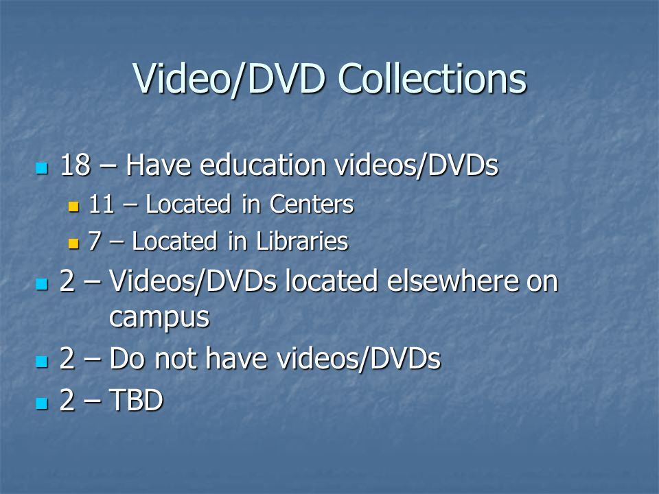 Video/DVD Collections 18 – Have education videos/DVDs 18 – Have education videos/DVDs 11 – Located in Centers 11 – Located in Centers 7 – Located in Libraries 7 – Located in Libraries 2 – Videos/DVDs located elsewhere on campus 2 – Videos/DVDs located elsewhere on campus 2 – Do not have videos/DVDs 2 – Do not have videos/DVDs 2 – TBD 2 – TBD