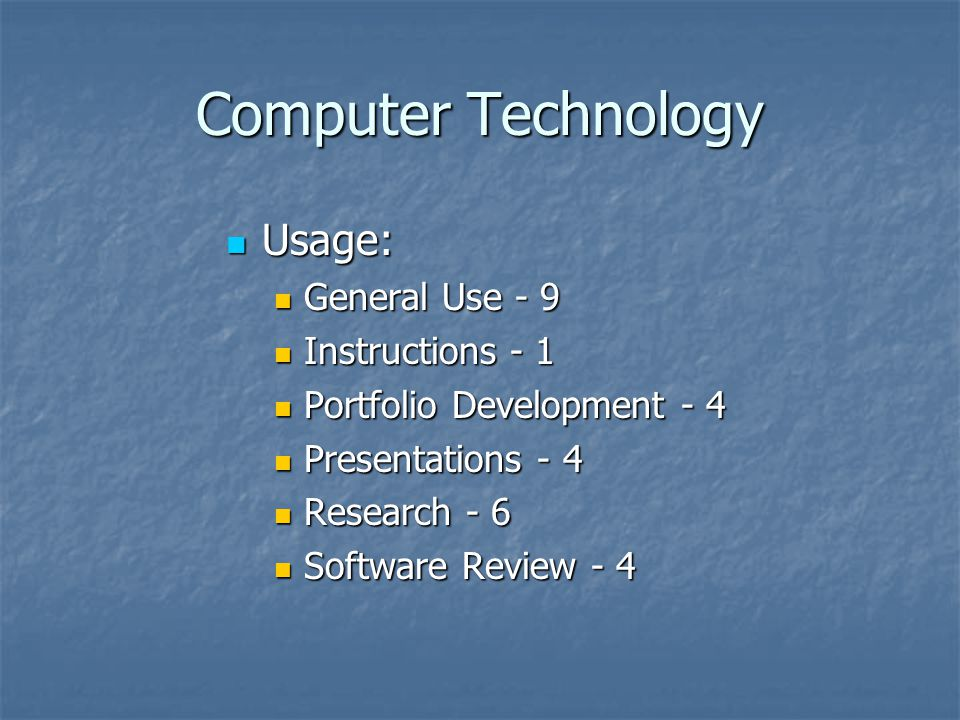 Computer Technology Usage: Usage: General Use - 9 General Use - 9 Instructions - 1 Instructions - 1 Portfolio Development - 4 Portfolio Development - 4 Presentations - 4 Presentations - 4 Research - 6 Research - 6 Software Review - 4 Software Review - 4