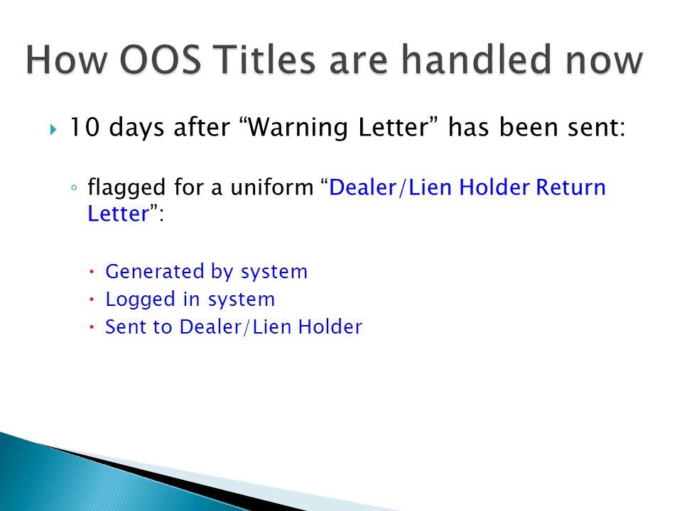  10 days after Warning Letter has been sent: ◦ flagged for a uniform Dealer/Lien Holder Return Letter :  Generated by system  Logged in system  Sent to Dealer/Lien Holder