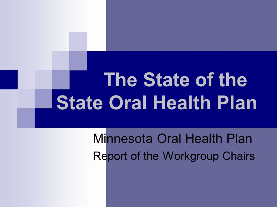 The State of the State Oral Health Plan Minnesota Oral Health Plan Report of the Workgroup Chairs
