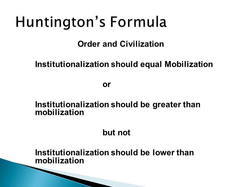 Order and Civilization Institutionalization should equal Mobilization or Institutionalization should be greater than mobilization but not Institutionalization should be lower than mobilization