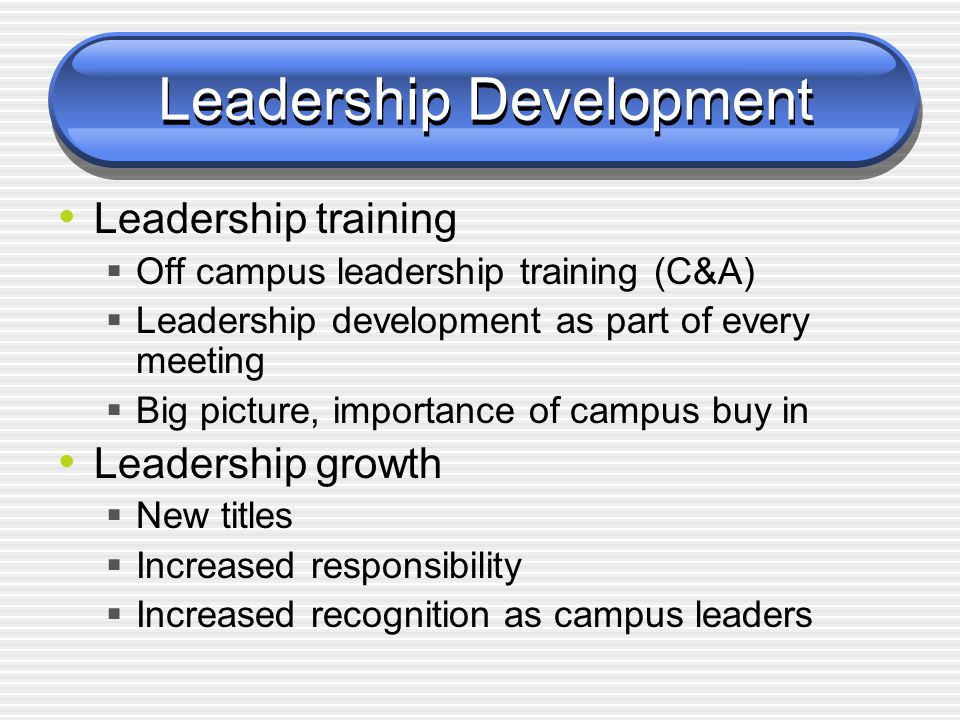 Leadership Development Managers keep the system running Leaders show how to improve the system  Leaders needed at all levels No culture of leadership  Team leaders not ready for leadership roles  Did not understand importance of getting campus buy in and of politics