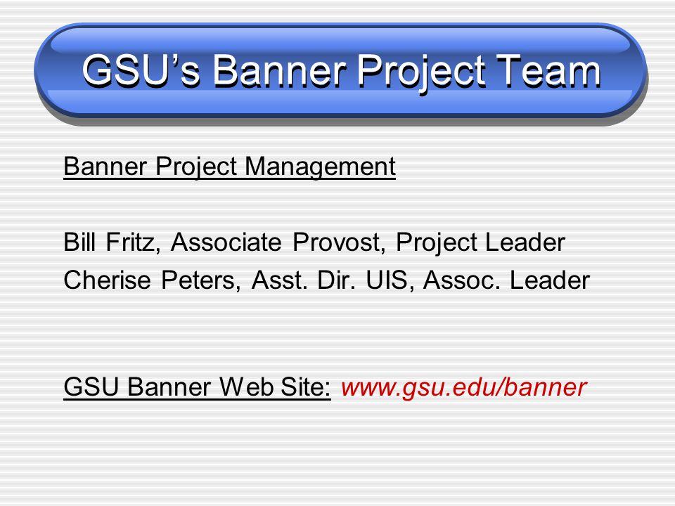 GSU's Banner Project Team Banner Project Management Bill Fritz, Associate Provost, Project Leader Cherise Peters, Asst.