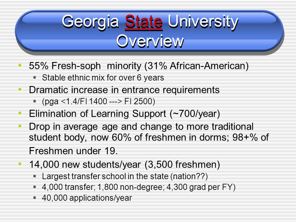 Georgia State University Overview Research University in an Urban Setting  1 of 3(4) Research Universities in USG System (34 units with, research universities, state & regional universities, two-year community colleges; 217,000+ total students) 6 colleges (A&S, RCB, ED, CHHS, AYSPS, LAW) ~ 27,500 students/term (33,000/year); 29% graduate ~ 2900 Bachelor's degrees/year (2400 grad.