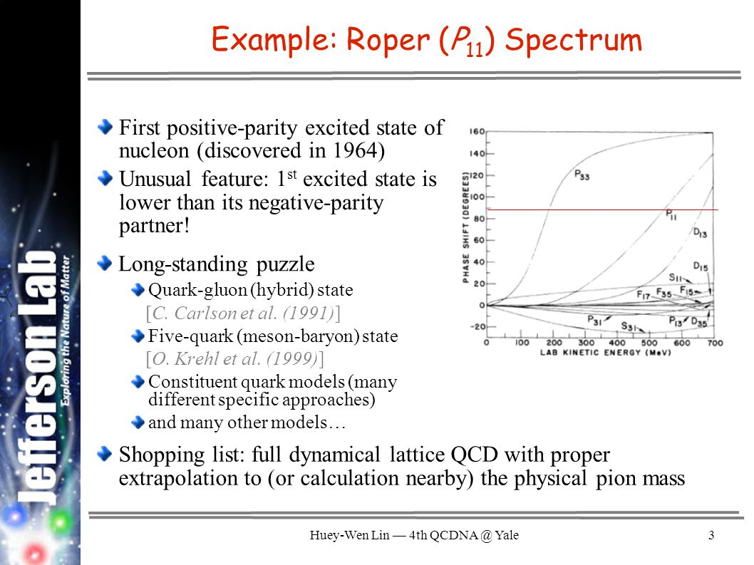 Huey-Wen Lin — 4th QCDNA @ Yale4 Helicity amplitudes are measured (in 10 −3 GeV −1/2 units) Example: Roper Form Factor Experiments at Jefferson Laboratory (CLAS), MIT-Bates, LEGS, Mainz, Bonn, GRAAL, and Spring-8 Great effort has been put in by phenomenologists; Many models disagree (a selection are shown below)