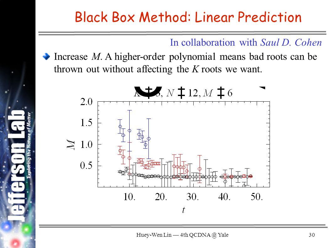 Huey-Wen Lin — 4th QCDNA @ Yale30 Black Box Method: Linear Prediction Increase M.