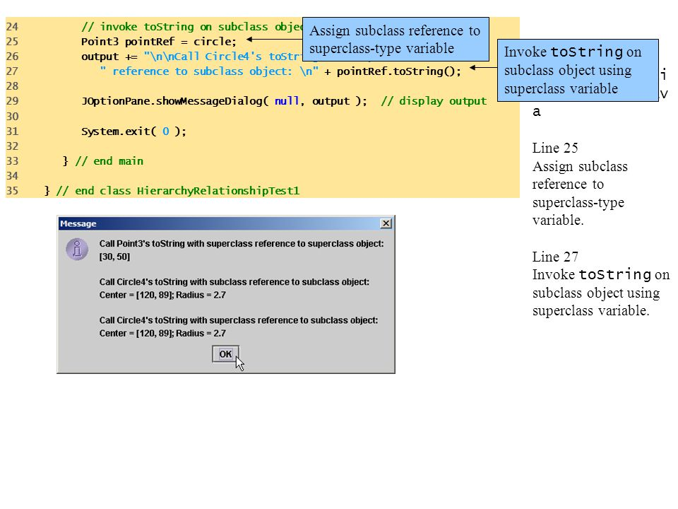 HierarchyRelati onshipTest1.jav a Line 25 Assign subclass reference to superclass-type variable. Line 27 Invoke toString on subclass object using supe