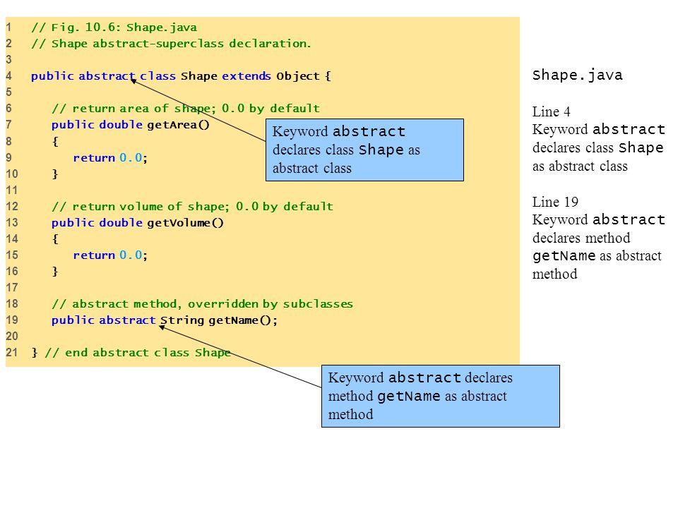 Shape.java Line 4 Keyword abstract declares class Shape as abstract class Line 19 Keyword abstract declares method getName as abstract method 1 // Fig