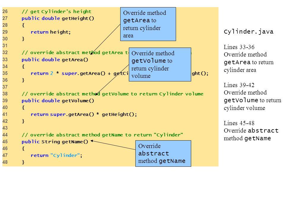 Cylinder.java Lines 33-36 Override method getArea to return cylinder area Lines 39-42 Override method getVolume to return cylinder volume Lines 45-48