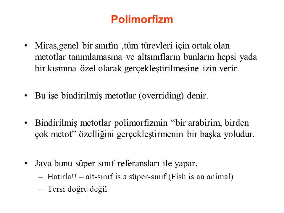 Polimorfizm Miras,genel bir sınıfın,tüm türevleri için ortak olan metotlar tanımlamasına ve altsınıfların bunların hepsi yada bir kısmına özel olarak