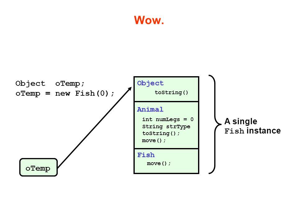Wow. Animal int numLegs = 0 String strType toString(); move(); Object toString() Fish move(); Object oTemp; oTemp = new Fish(0); oTemp A single Fish i