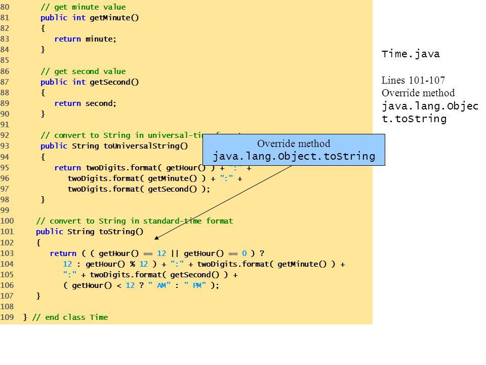 Time.java Lines 101-107 Override method java.lang.Objec t.toString 80 // get minute value 81 public int getMinute() 82 { 83 return minute; 84 } 85 86