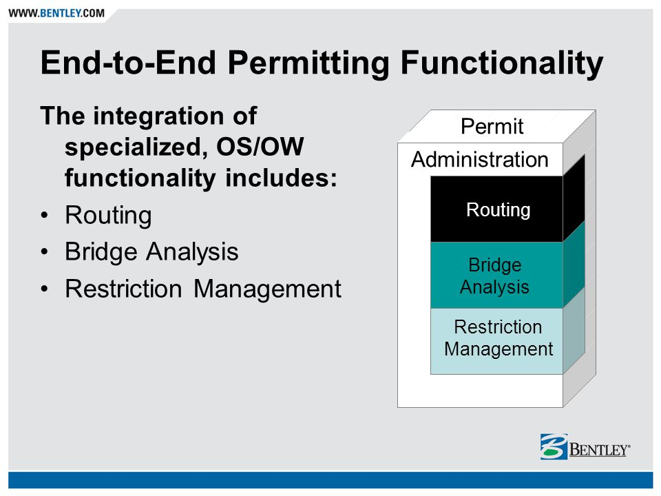 End-to-End Permitting Functionality The integration of specialized, OS/OW functionality includes: Routing Bridge Analysis Restriction Management Restr
