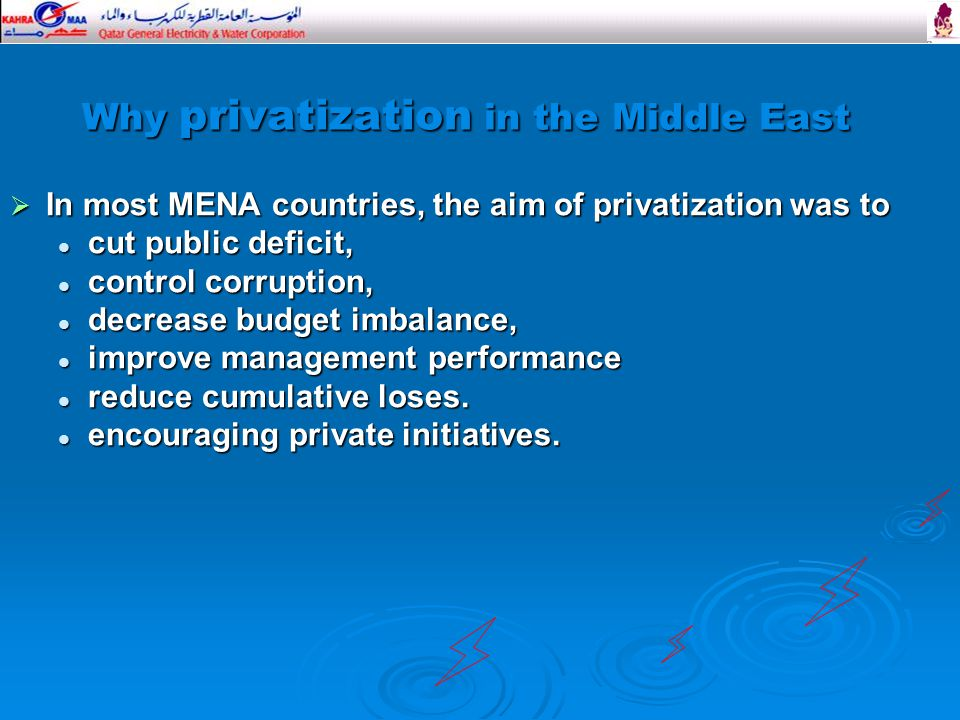 Why privatization in the Middle East  In most MENA countries, the aim of privatization was to cut public deficit, cut public deficit, control corruption, control corruption, decrease budget imbalance, decrease budget imbalance, improve management performance improve management performance reduce cumulative loses.