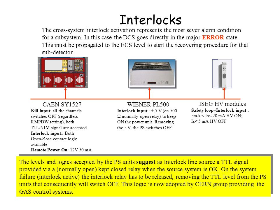Interlocks CAEN SY1527 Kill input: all the channels switches OFF (regardless RMPDW setting), both TTL/NIM signal are accepted.