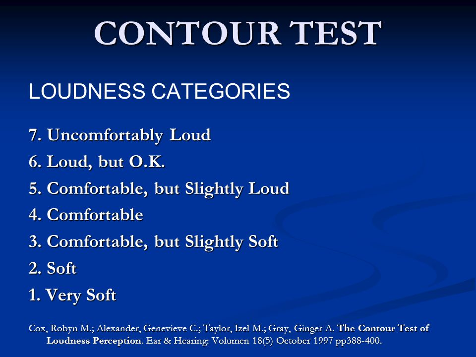 CONTOUR TEST LOUDNESS CATEGORIES 7. Uncomfortably Loud 6.