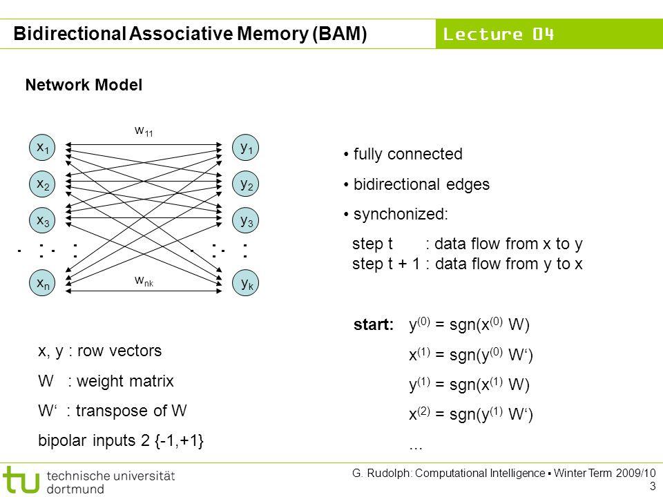 Lecture 04 G. Rudolph: Computational Intelligence ▪ Winter Term 2009/10 3 Bidirectional Associative Memory (BAM) Network Model x 1 x 2 x 3 x n y 1 y 2
