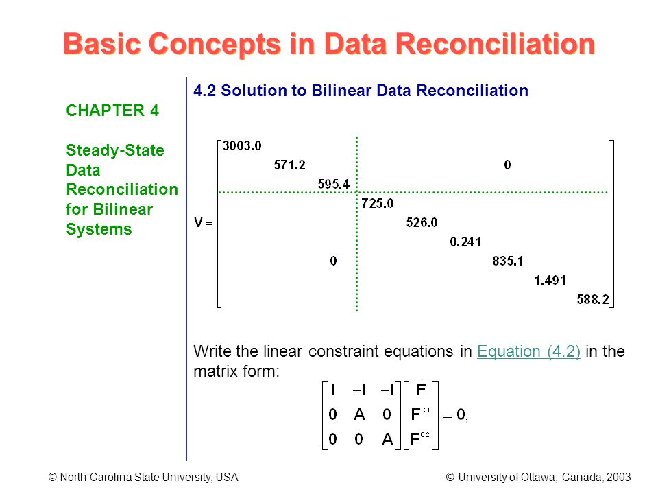 Basic Concepts in Data Reconciliation © North Carolina State University, USA © University of Ottawa, Canada, 2003 CHAPTER 4 Steady-State Data Reconciliation for Bilinear Systems 4.2 Solution to Bilinear Data Reconciliation Write the linear constraint equations in Equation (4.2) in the matrix form:
