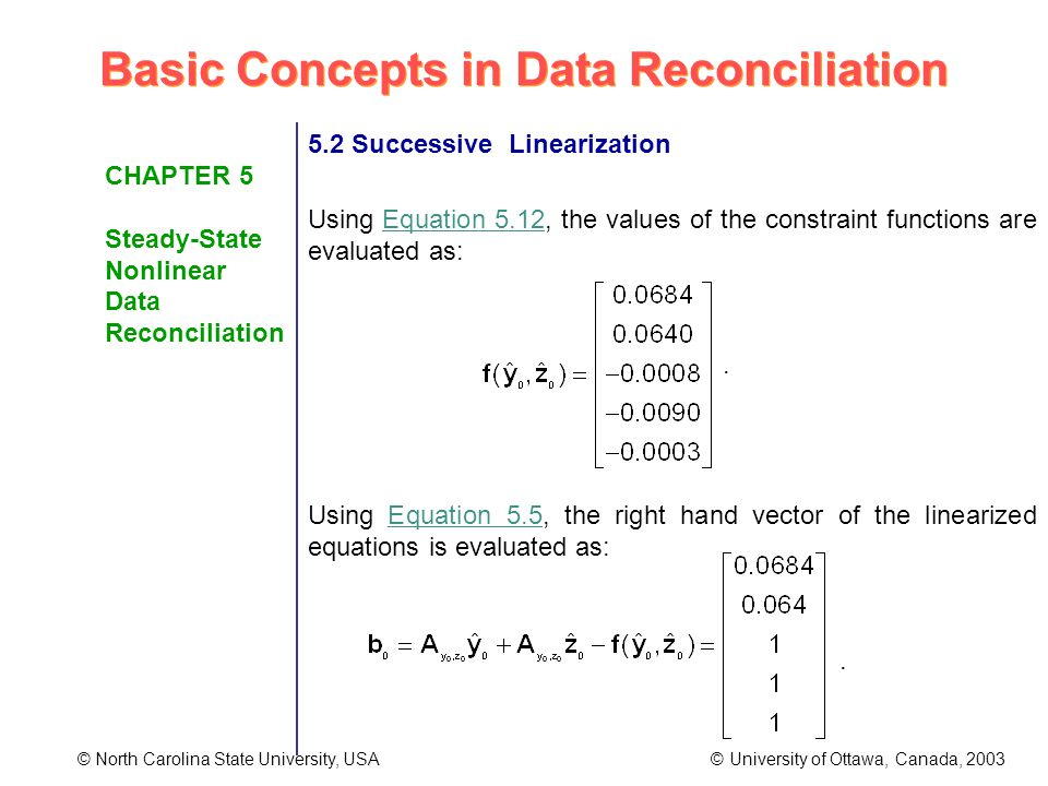 Basic Concepts in Data Reconciliation © North Carolina State University, USA © University of Ottawa, Canada, 2003 CHAPTER 5 Steady-State Nonlinear Data Reconciliation 5.2 Successive Linearization Using Equation 5.12, the values of the constraint functions are evaluated as:.