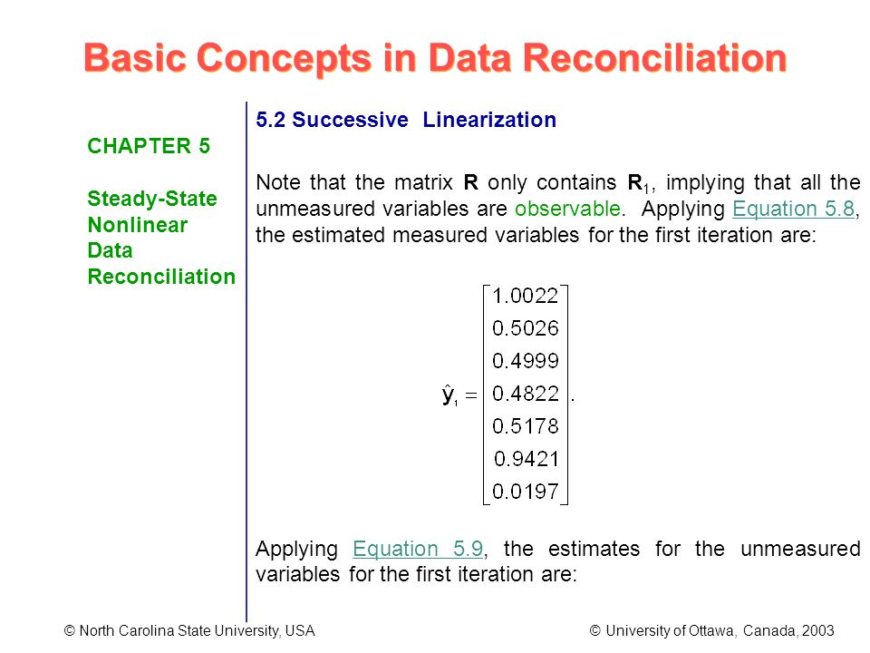 Basic Concepts in Data Reconciliation © North Carolina State University, USA © University of Ottawa, Canada, 2003 CHAPTER 5 Steady-State Nonlinear Data Reconciliation 5.2 Successive Linearization Note that the matrix R only contains R 1, implying that all the unmeasured variables are observable.