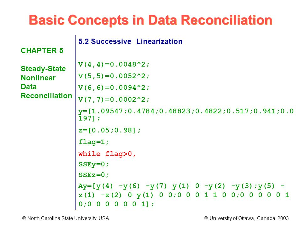 Basic Concepts in Data Reconciliation © North Carolina State University, USA © University of Ottawa, Canada, 2003 CHAPTER 5 Steady-State Nonlinear Data Reconciliation 5.2 Successive Linearization V(4,4)=0.0048^2; V(5,5)=0.0052^2; V(6,6)=0.0094^2; V(7,7)=0.0002^2; y=[1.09547;0.4784;0.48823;0.4822;0.517;0.941;0.0 197]; z=[0.05;0.98]; flag=1; while flag>0, SSEy=0; SSEz=0; Ay=[y(4) -y(6) -y(7) y(1) 0 -y(2) -y(3);y(5) - z(1) -z(2) 0 y(1) 0 0;0 0 0 1 1 0 0;0 0 0 0 0 1 0;0 0 0 0 0 0 1];