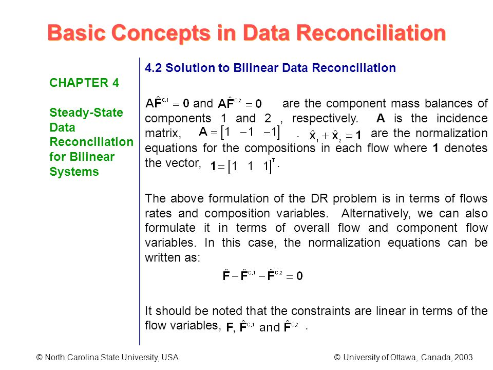 Basic Concepts in Data Reconciliation © North Carolina State University, USA © University of Ottawa, Canada, 2003 CHAPTER 4 Steady-State Data Reconciliation for Bilinear Systems 4.2 Solution to Bilinear Data Reconciliation and are the component mass balances of components 1 and 2, respectively.