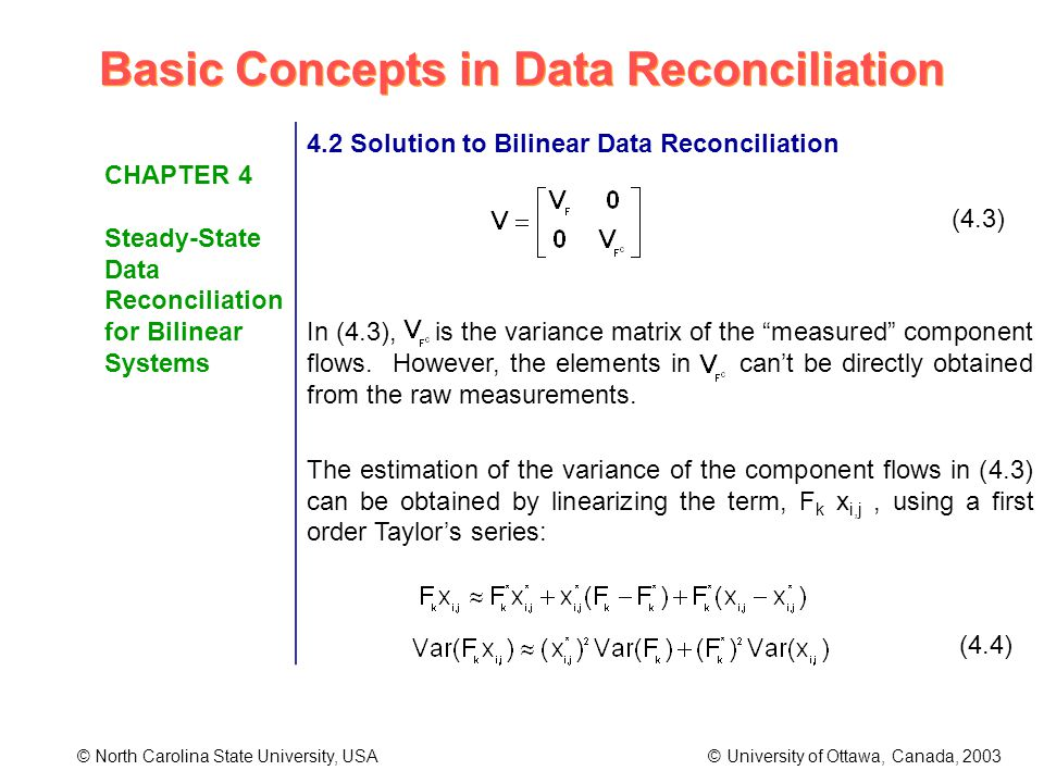 Basic Concepts in Data Reconciliation © North Carolina State University, USA © University of Ottawa, Canada, 2003 CHAPTER 4 Steady-State Data Reconciliation for Bilinear Systems 4.2 Solution to Bilinear Data Reconciliation (4.3) In (4.3), is the variance matrix of the measured component flows.
