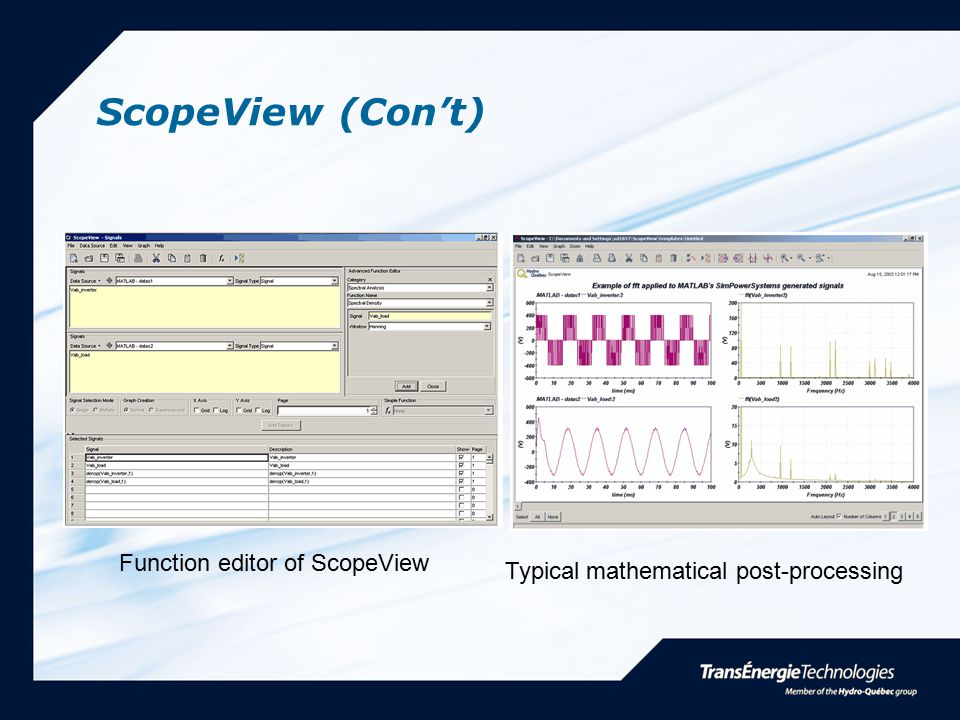 ScopeView (Con't) Function editor of ScopeView Typical mathematical post-processing