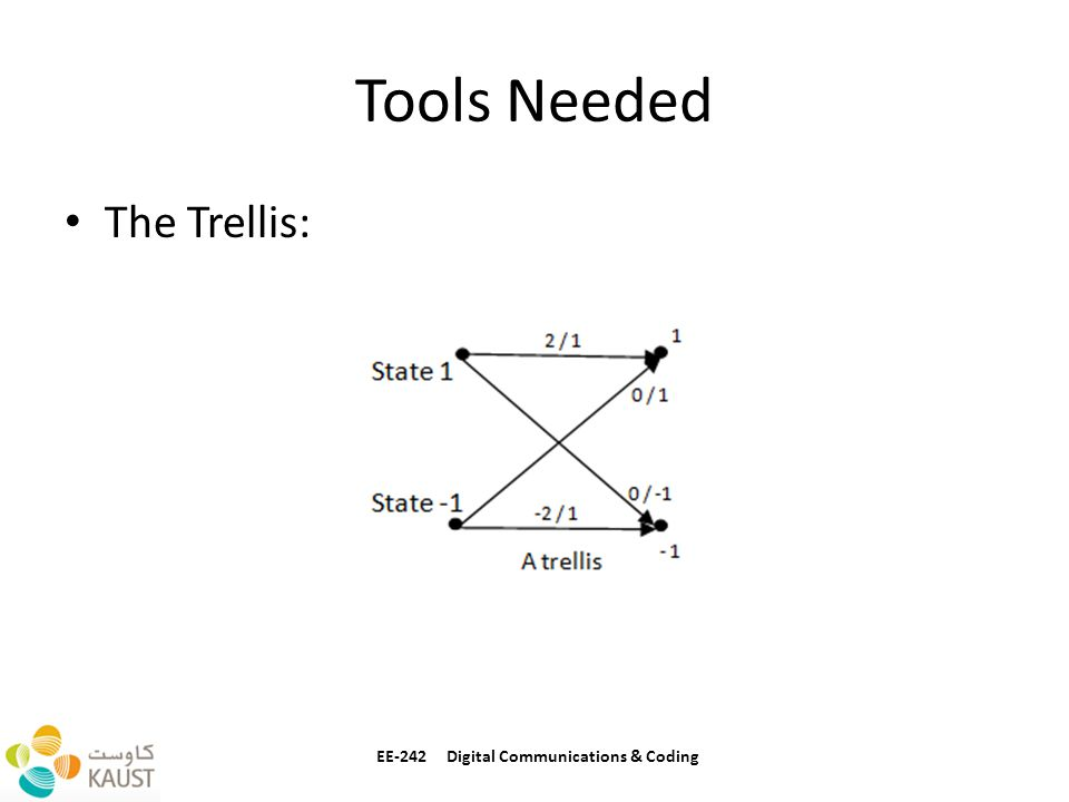Tools Needed The Trellis: EE-242 Digital Communications & Coding