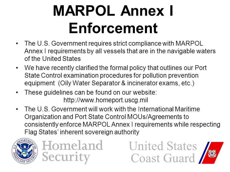 MARPOL Annex I Enforcement The U.S.