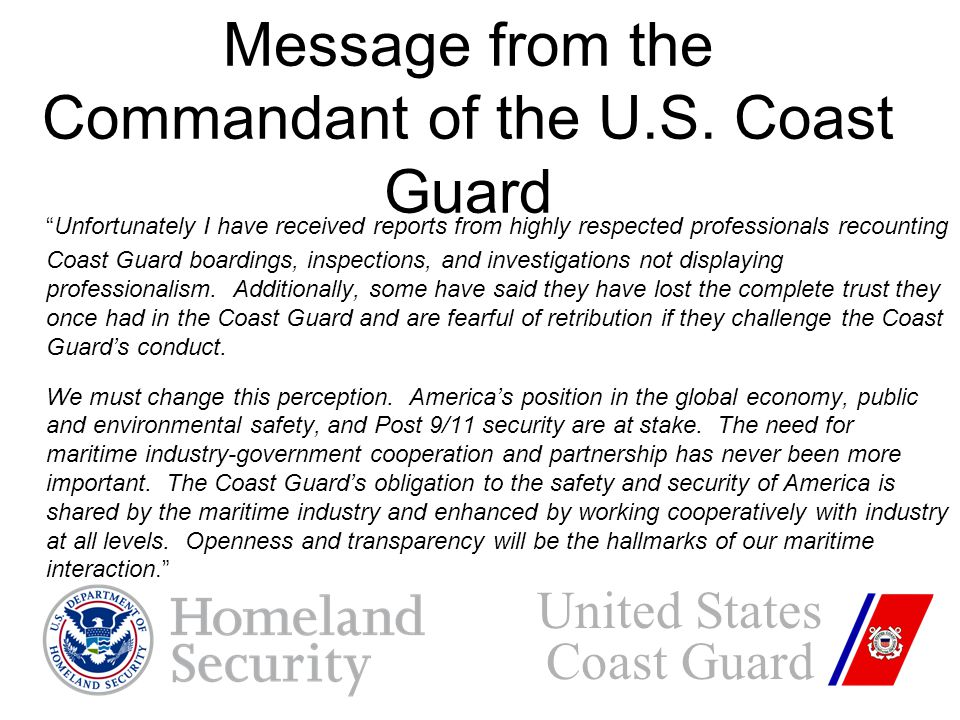 Message from the Commandant of the U.S.