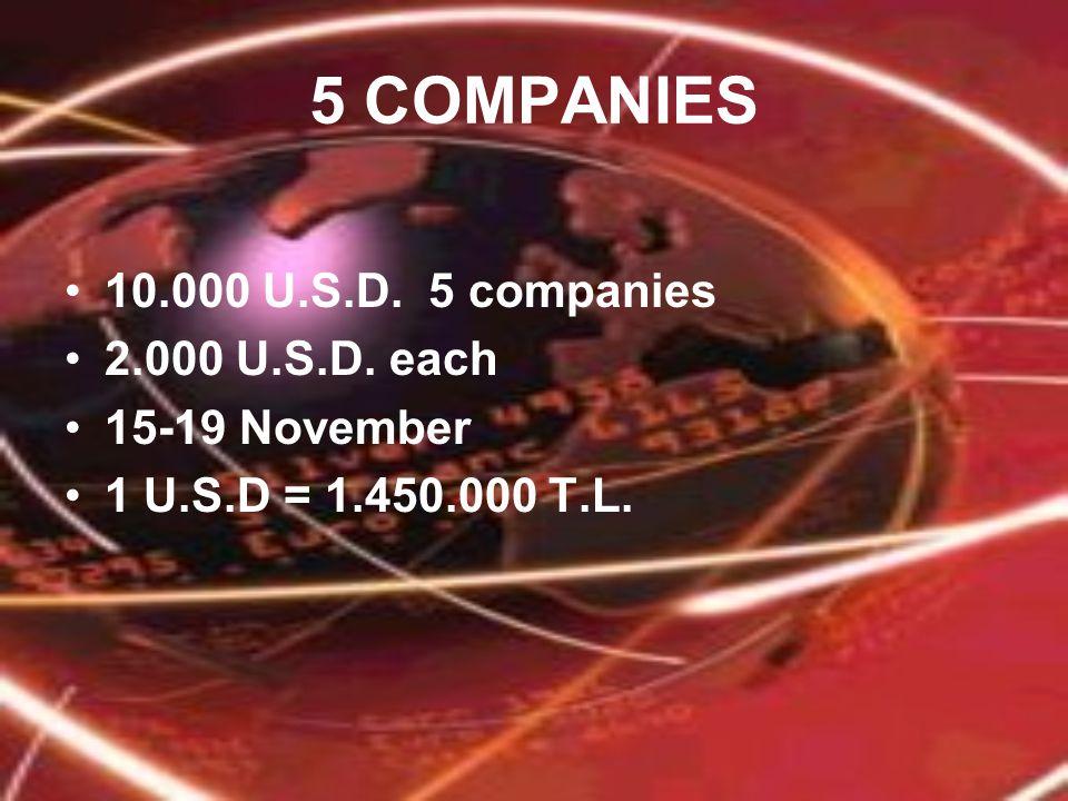 5 COMPANIES 10.000 U.S.D. 5 companies 2.000 U.S.D. each 15-19 November 1 U.S.D = 1.450.000 T.L.