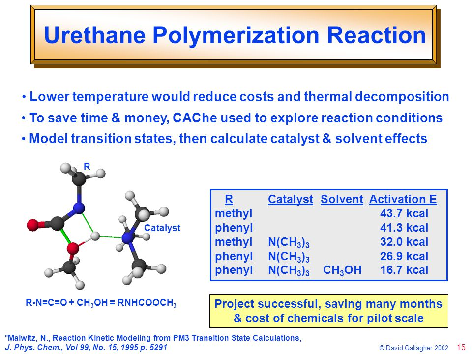15 © David Gallagher 2002 Urethane Polymerization Reaction Lower temperature would reduce costs and thermal decomposition R-N=C=O + CH 3 OH = RNHCOOCH 3 R Catalyst *Malwitz, N., Reaction Kinetic Modeling from PM3 Transition State Calculations, J.