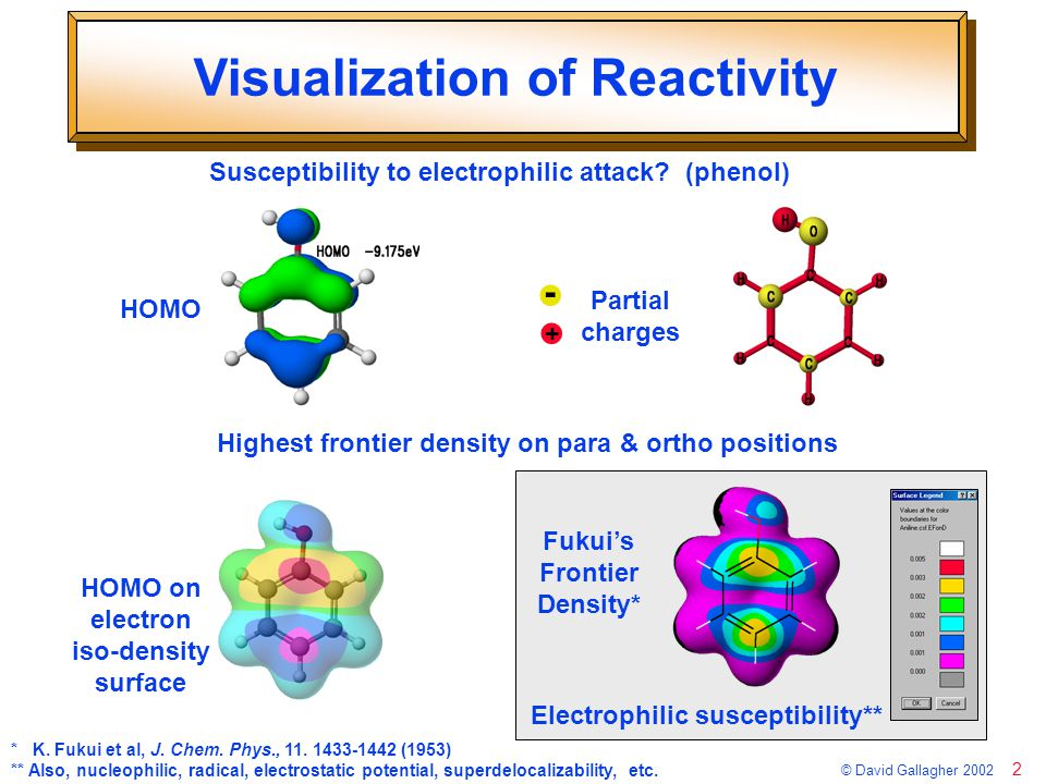 3 © David Gallagher 2002 Susceptibility to Attack *Fukui's frontier density on electron isodensity surface Electrophilic (occupied obitals) Nucleophilic (unoccupied orbitals) Radical (all valence orbitals)