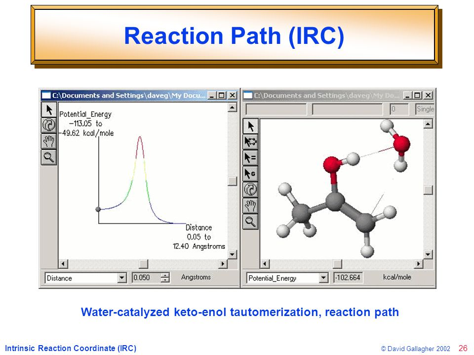 26 © David Gallagher 2002 Reaction Path (IRC) Intrinsic Reaction Coordinate (IRC) Water-catalyzed keto-enol tautomerization, reaction path