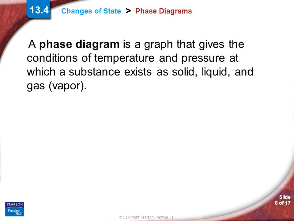 © Copyright Pearson Prentice Hall Changes of State > Slide 9 of 17 Phase Diagrams The conditions of pressure and temperature at which two phases exist in equilibrium are indicated on a phase diagram by a line separating the phases.